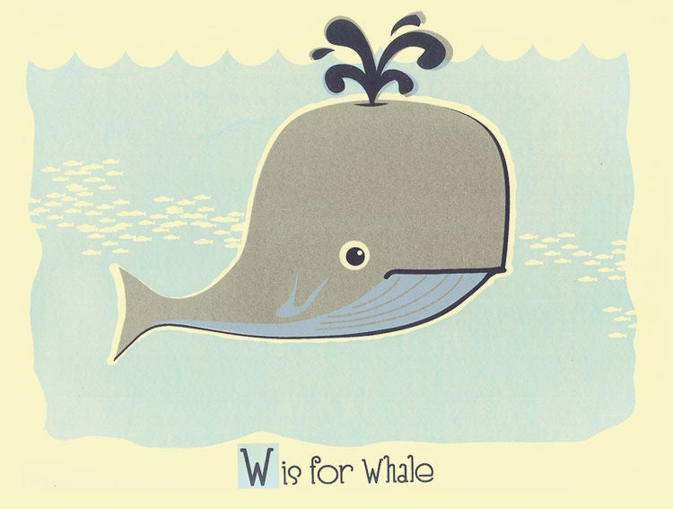Image of W is for Whale Alphabet Nursery Print
