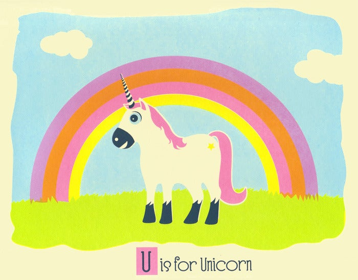 Image of U is for Unicorn Alphabet Nursery Print