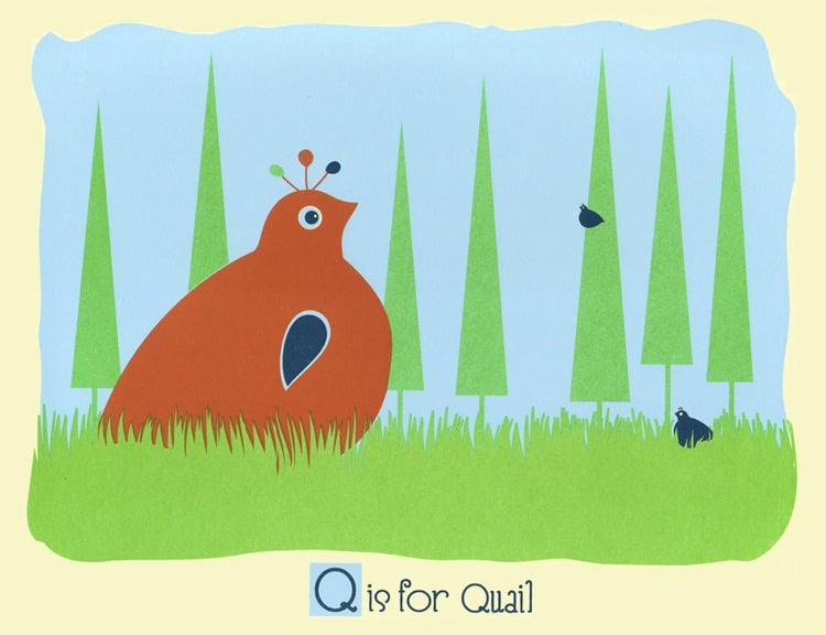 Image of Q is for Quail Alphabet Nursery Print