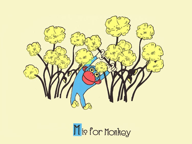 Image of M is for Monkey Alphabet Nursery Print