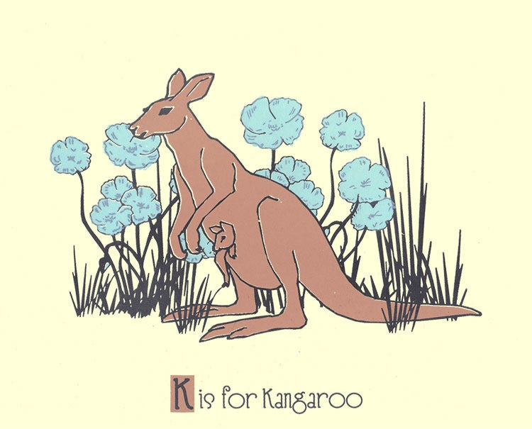 Image of K is for Kangaroo Alphabet Nursery Print