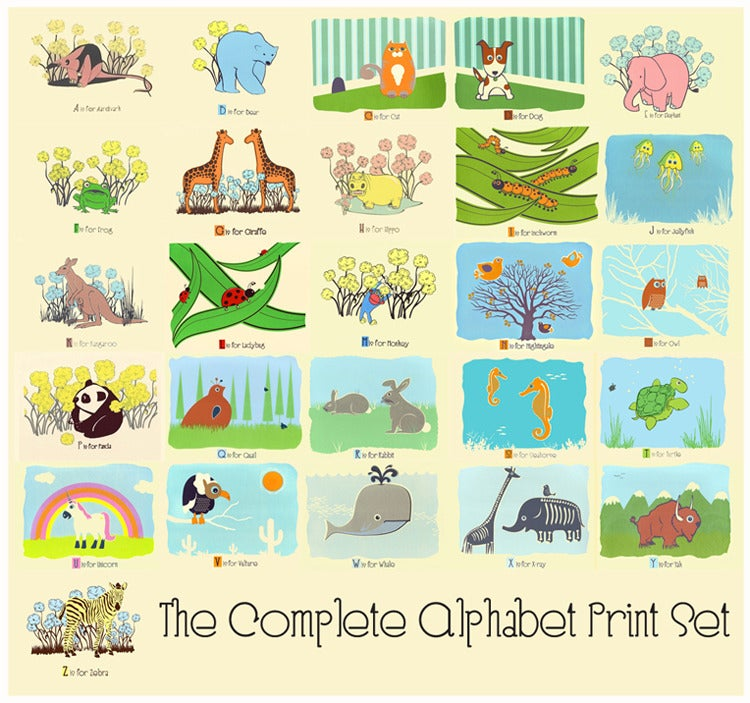 Image of The Complete A-Z Alphabet Silkscreen Nursery Art Print Set