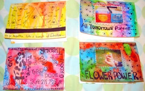 Image of 60's-Themed Pack of 4 Handmade Notecards