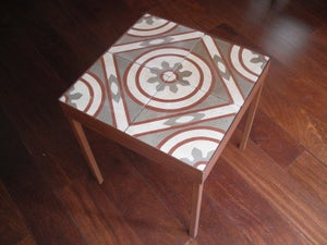 Image of End table: Red lines, Grey and Creme. Version II