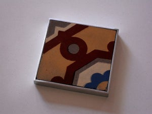 Image of Antique dot and flower hydraulic tile coaster