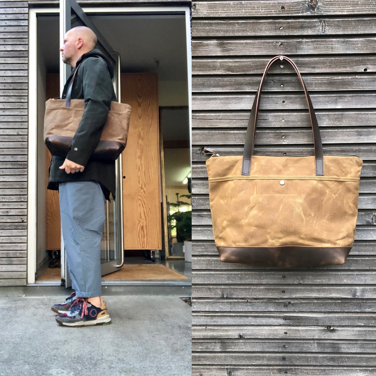 Image of XL waxed canvas tote bag with leather handles and bottom / canvas market bag / laptop bag COLLECTION