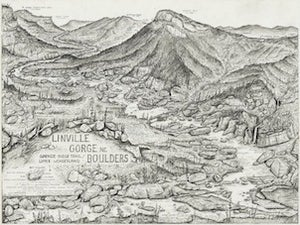 Image of Linville Gorge River Boulders/Spence Ridge Trail Print
