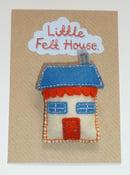 Image of Little Felt House Brooch (Orange and Blue)
