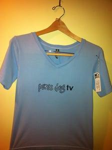 "Image of PurseDogTV ""Glitter Dog"" V-neck Tee"