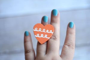 Image of Hand Painted Heart Ring - Doodle (one of a kind)
