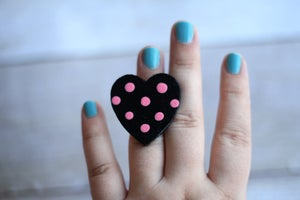 Image of Hand Painted Heart Ring - Pink Dots (one of a kind)