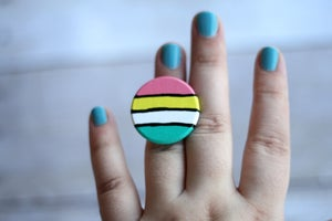 Image of Hand Painted Wood Ring - Sunset (one of a kind)