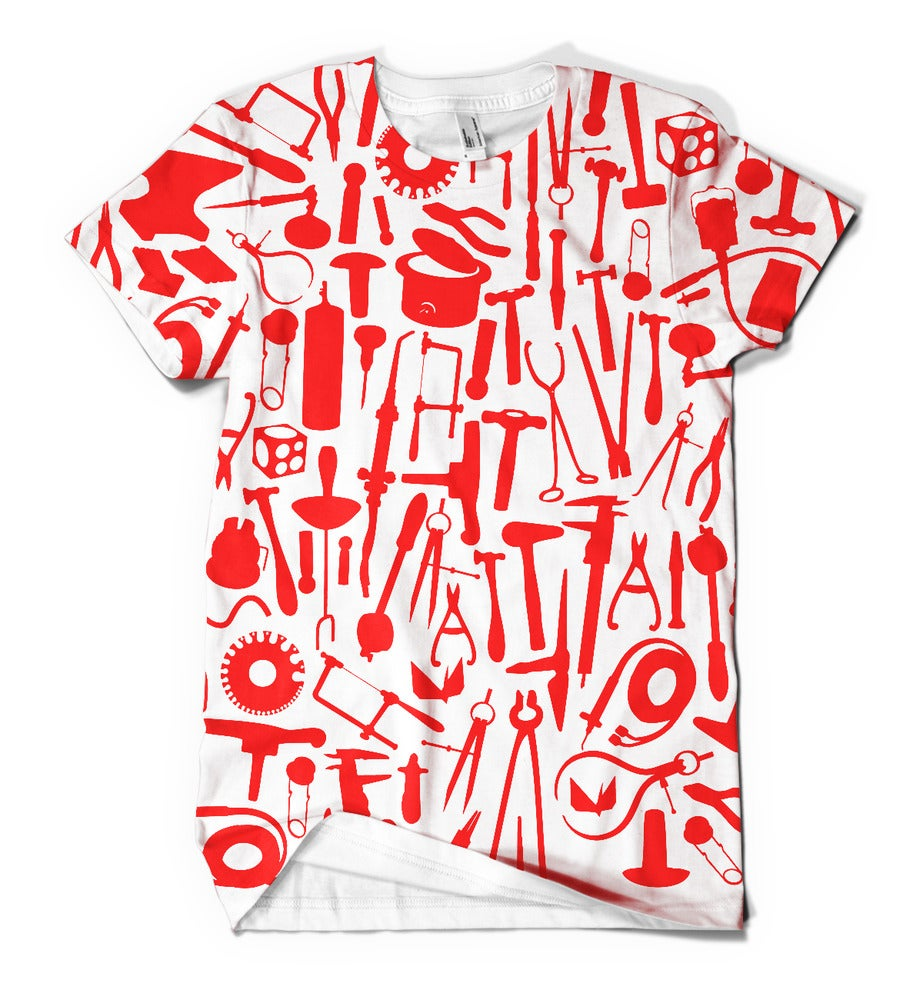 Image of Metals tools: red tools on white shirt
