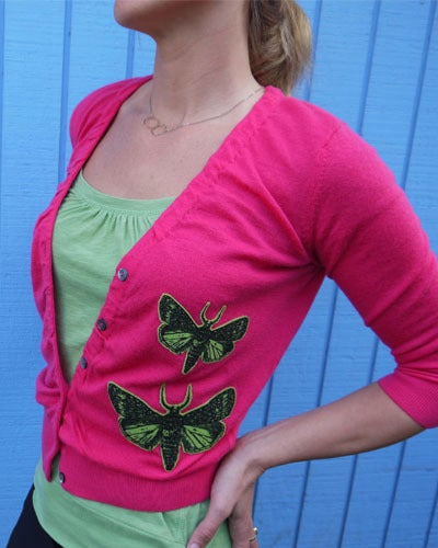 Image of Iron-on Cashmere Moths - Bright Green