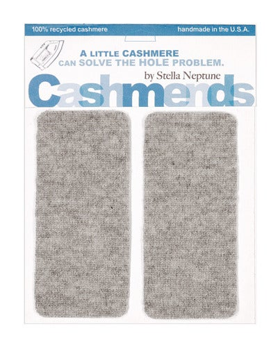 Image of Iron-On Cashmere Elbow Patches  -Light Grey