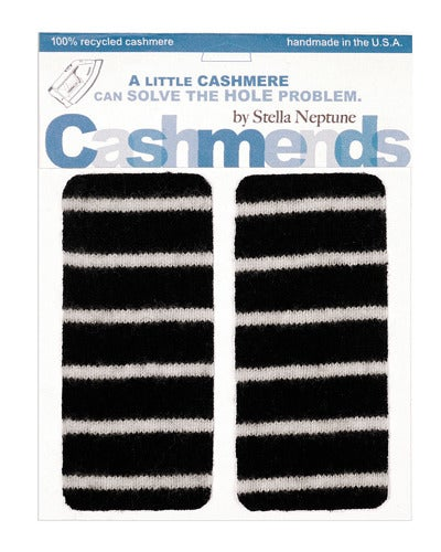 Image of Iron-on Cashmere Elbow Patches - Black & White Thin Stripe - Limited Edition!