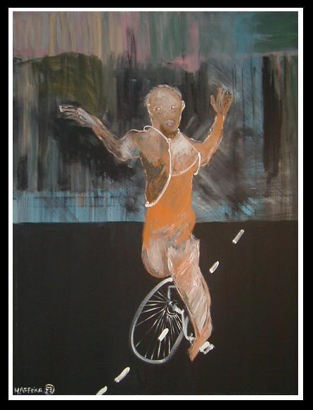 Image of Original Expressionist Painting by Michael Hafftka Man on a Unicycle