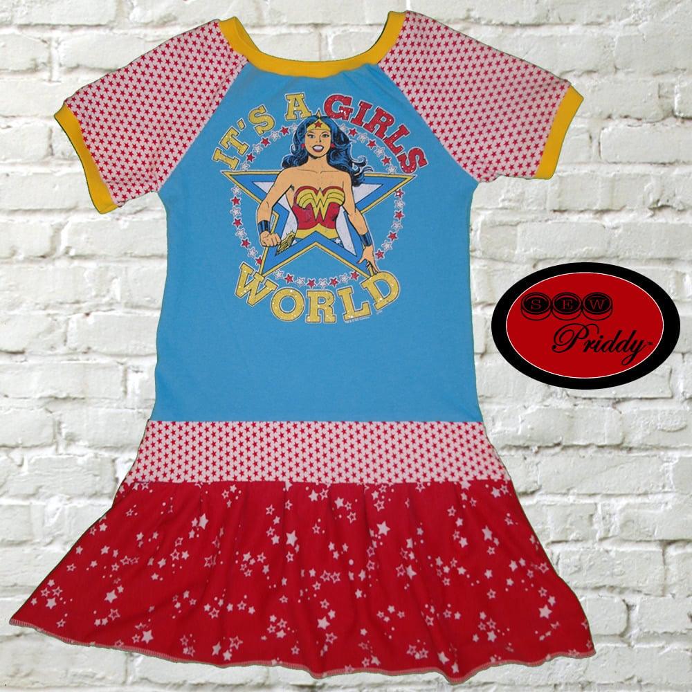 da7c763e4340 Sew Priddy —   SOLD OUT   Wonder Woman It s a Girls World Dress ...