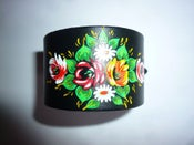 Image of The OMARINA Black Leather Gypsy Biker CUFF (Floral Design Bracelet)