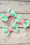 Image of Mini Bows~Turquoise/pink