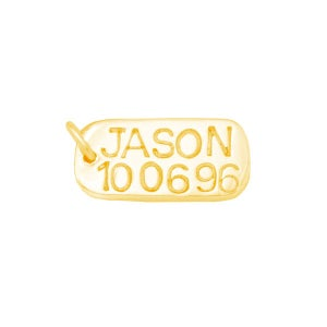 Image of 9ct Gold Dog Tag (Mini) - Custom Name & Date