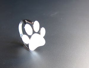 Image of Dog / Cat / Pet / Paw Print Ring - Handmade Silver Ring