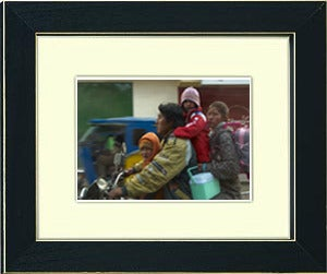 Image of framed print of original photograph - family on motorcycle
