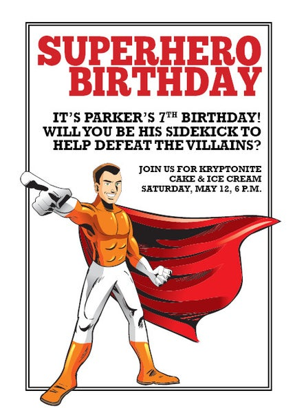 Image of Superhero Birthday Invitation