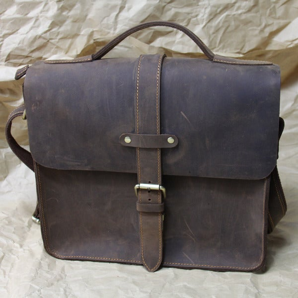 Image of Vintage Handmade Genuine Crazy Horse Leather Messenger Bag / Satchel / Briefcase (n63)