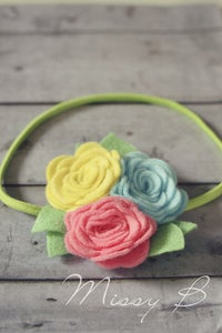Image of Rosy Bright~Headband to fit approx 3months-adult