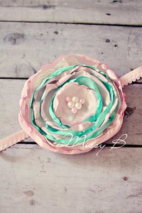 Image of Pastel layered silk flower headband~To suit approx 4-18 months