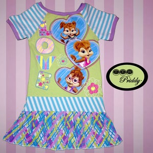 Image of **SOLD OUT** Chipmunks Chipettes Love Green Dress - Size 7/8