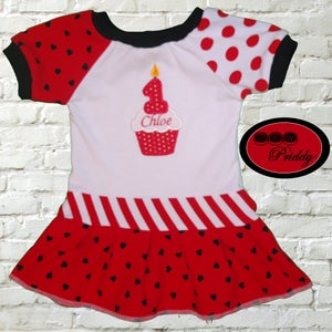 Image of **SOLD OUT** 1st Birthday Dress with Custom Appliqué - size 6-12 month