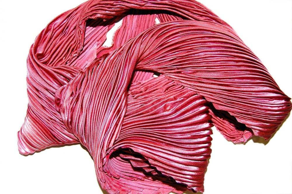 Image of Fuchsia Silk Shibori Scarf - Handpainted Silk Shibori