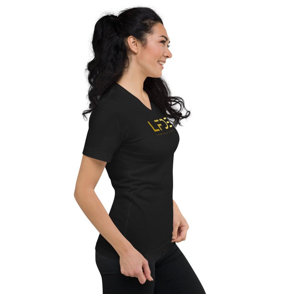 Image of Gold Logo Women V-Neck T-Shirt