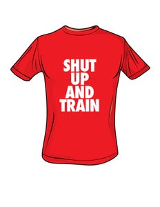 Image of Mens Shut Up and Train Red/White Tshirt