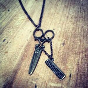 Image of Scissors & comb necklace