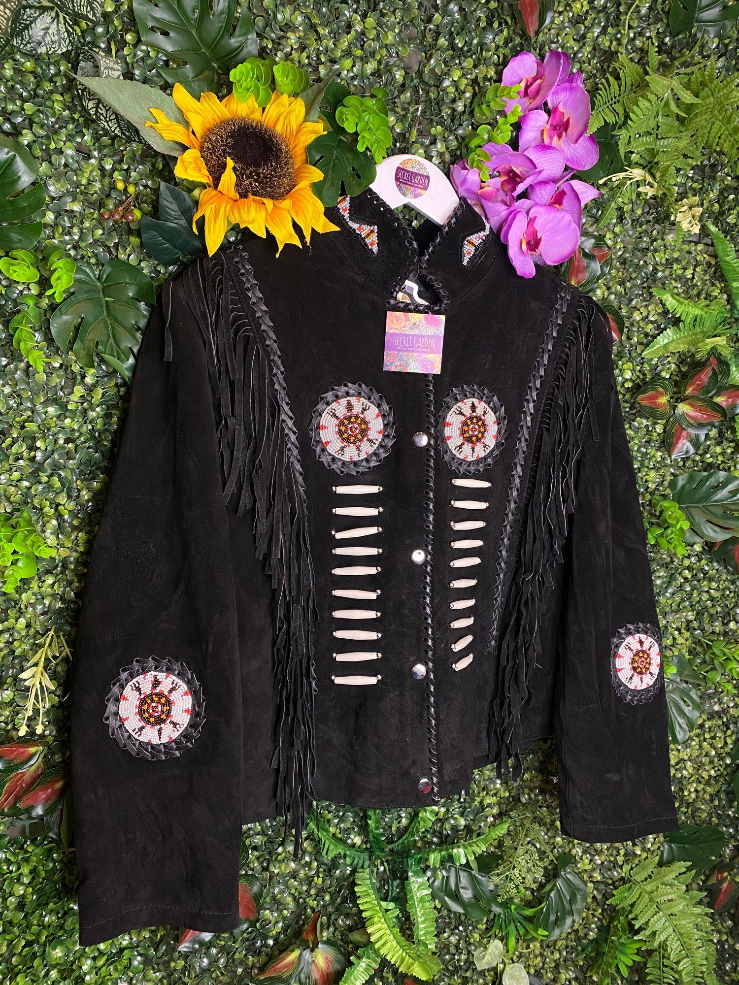 Image of Arionza Black Short Tassel Suede Jacket