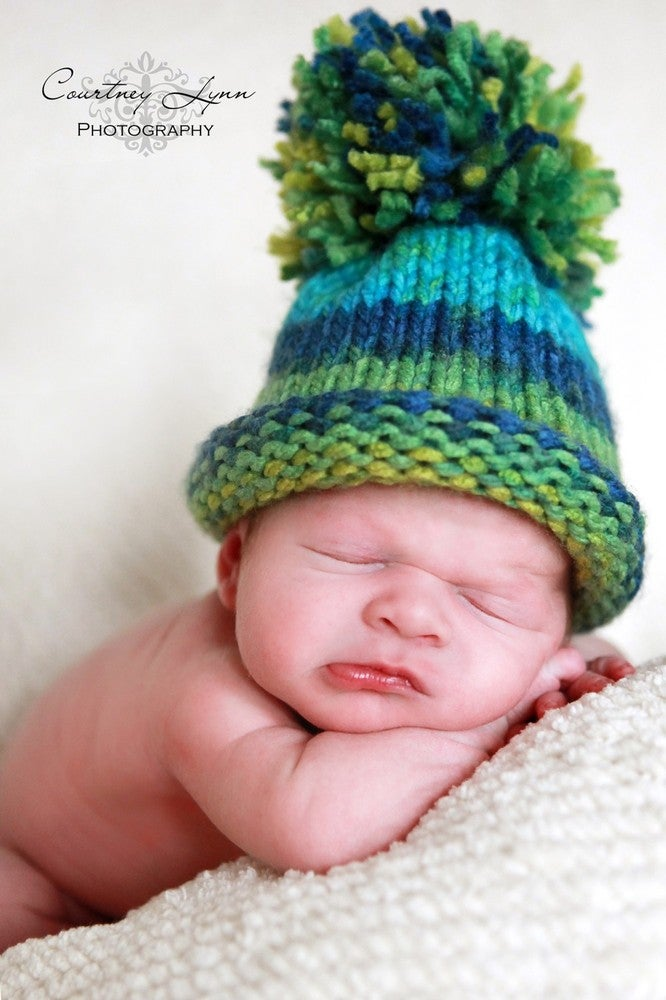70a7ff3a364 Baby Girl Hat or Baby Boy Hat....G. Image of Ready To Ship....Newborn - 3  Months - POM POM