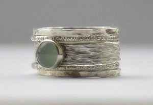 Image of Unique Aquamarine rustic recycled sterling silver stackable wedding bands