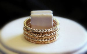 Image of Hammered 6 Band 14k Gold fill  & Beaded Sterling Silver Stacking / Stackable / Stack Rings