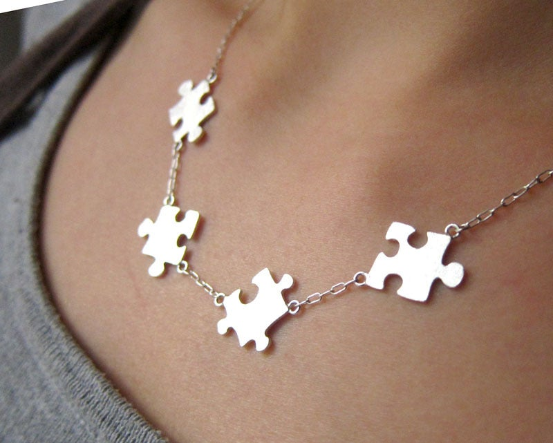 Image Of Puzzle Necklace For Autism 50 Sales Go To Autism Society Handmade Sterling Silver