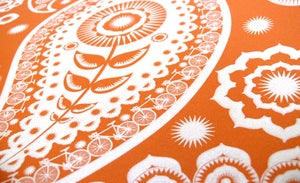Image of Paisley Crescent Wallpaper - Tangerine Dream