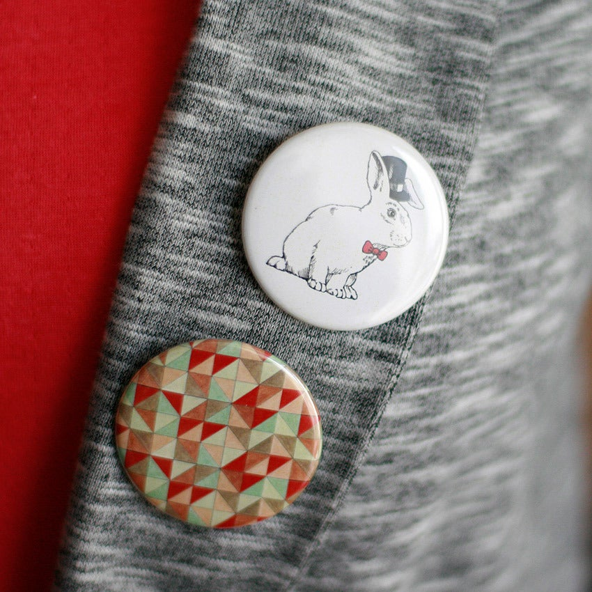 Image of 2 badges lapin corail