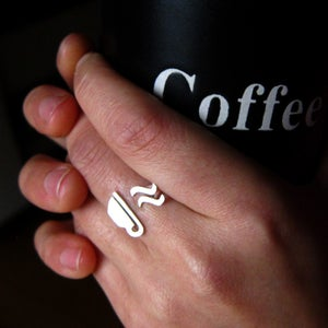 Image of Coffee Cup Ring for Coffee Lovers- Handmade silver ring