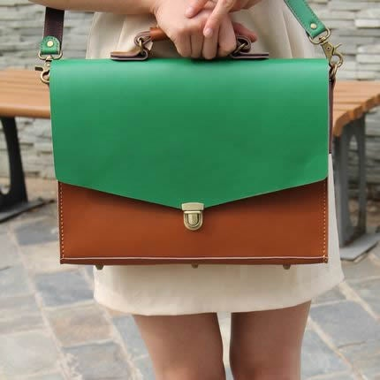 "Image of Handmade Leather Briefcase Portfolio 14"" Laptop 13"" 15"" 17"" MacBook Case Bag - Brown with Green #m05"