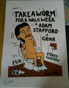 Image of Take A Worm For A Walk Week - Silk screened Poster - LAST SHOW