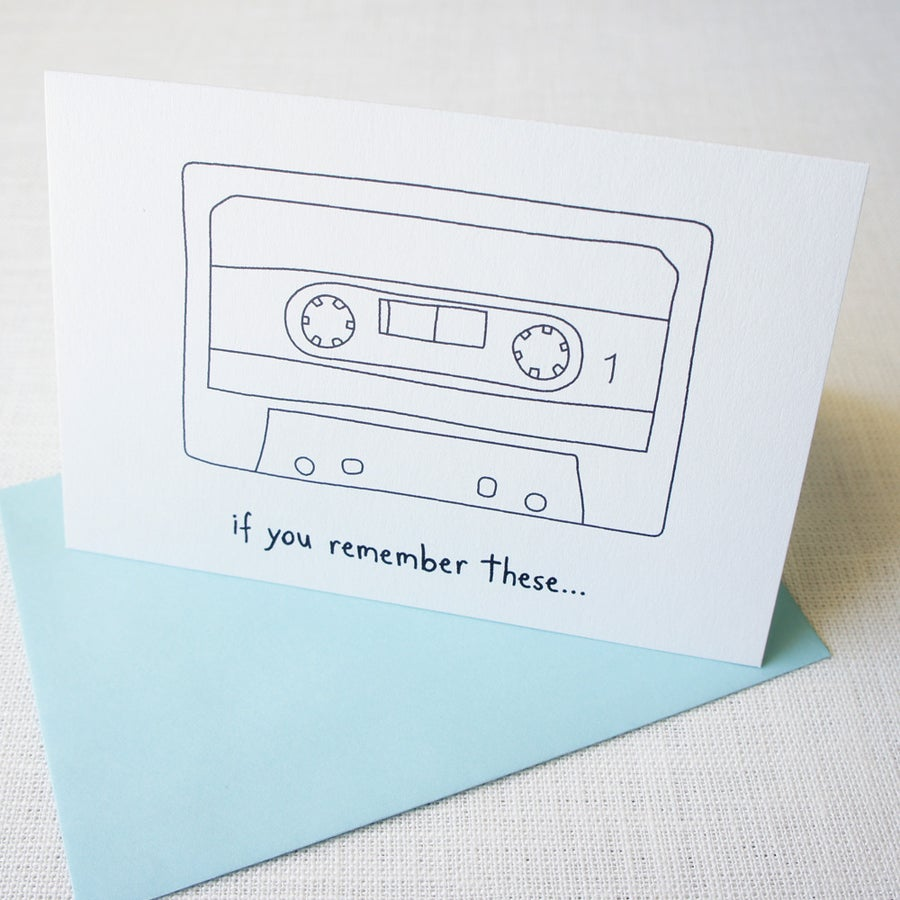 Image of Old cassette tape birthday card - for all ages