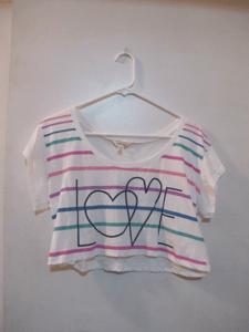 "Image of Crop Rainbow ""Love"" Tee"