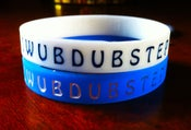 Image of Drop the Bassline - 'I WUB DUBSTEP' Glow in the Dark Bands (BLUE + WHITE)